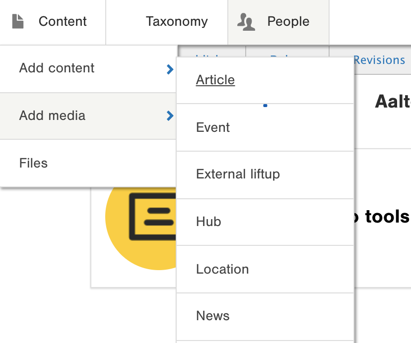 example – create a new article