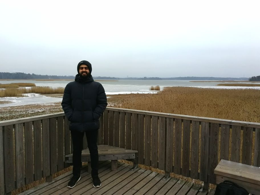 HAIC student enjoying Aalto Campus
