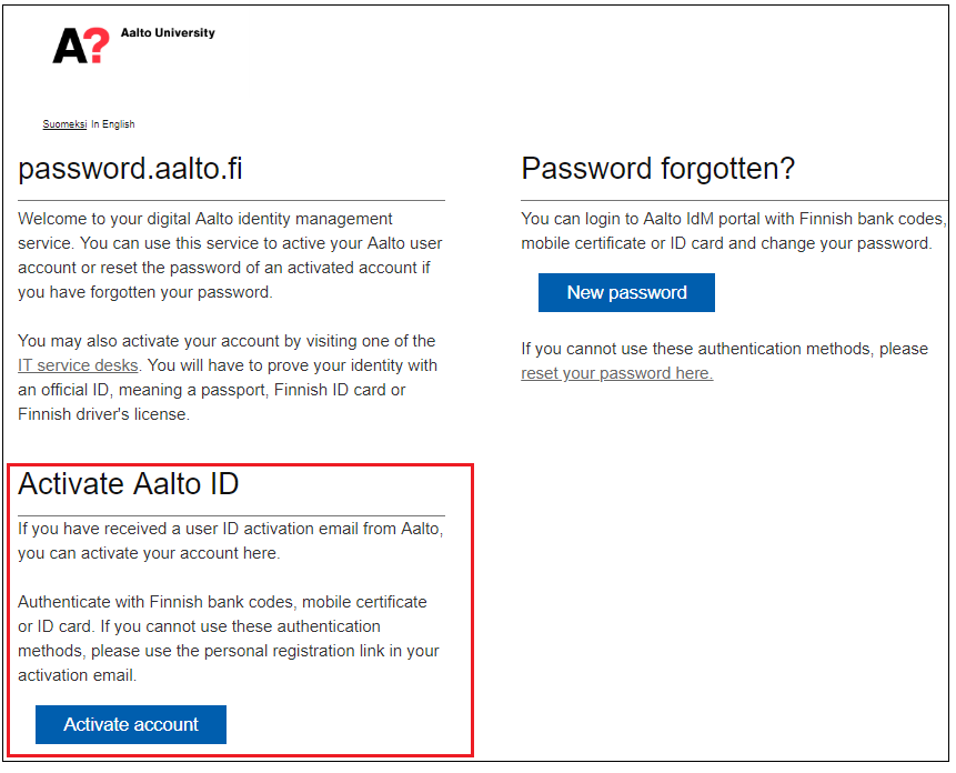 Aalto Password