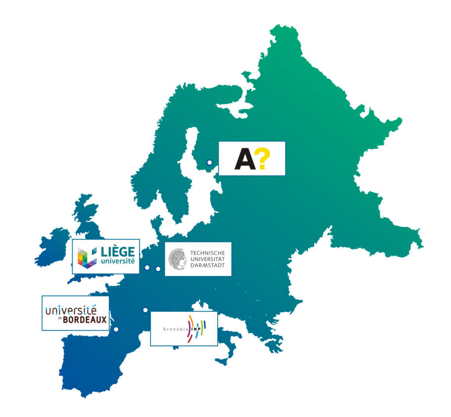 An image explaining all the partner universities of the programme