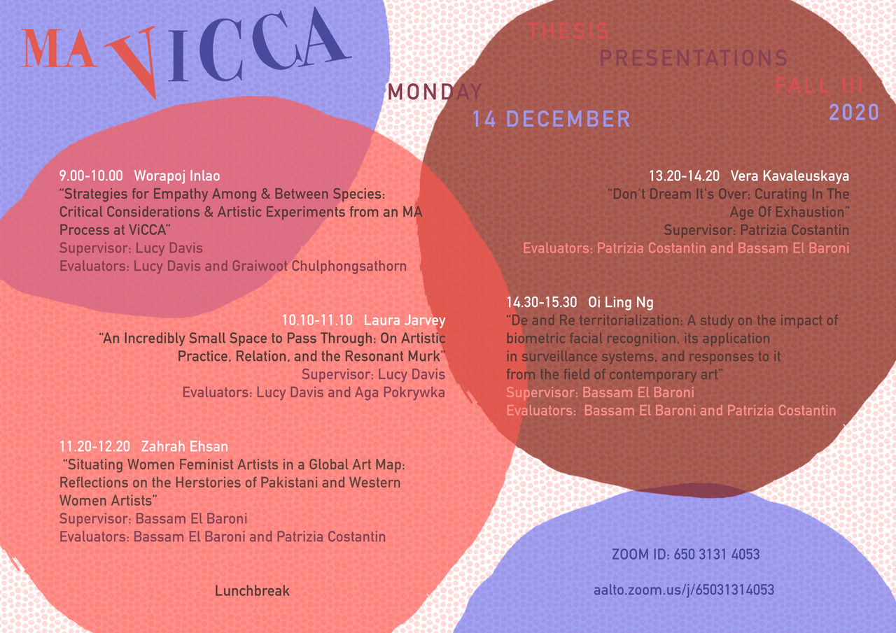 A series of colourful circles frame the names and thesis topics for 14 December 2020