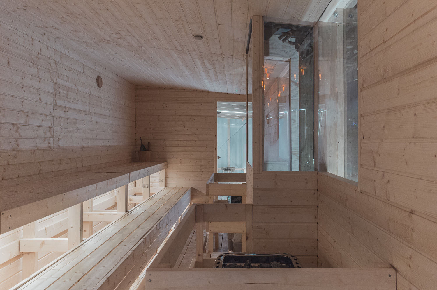 Rooftop Sauna Interior by Aalto in the middle of London