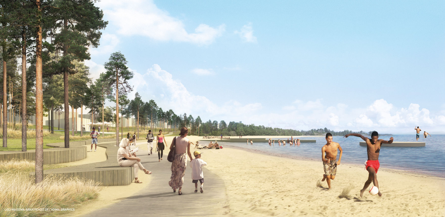 Illustration of beach promenade and people