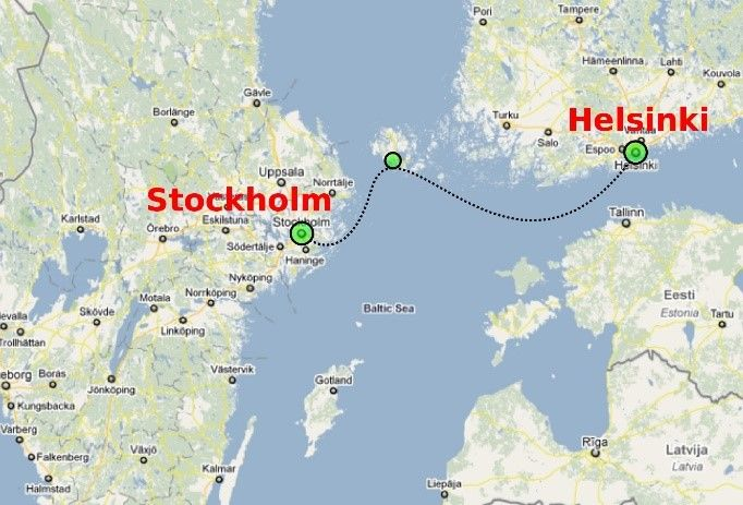 the cruising route in Baltic Sea