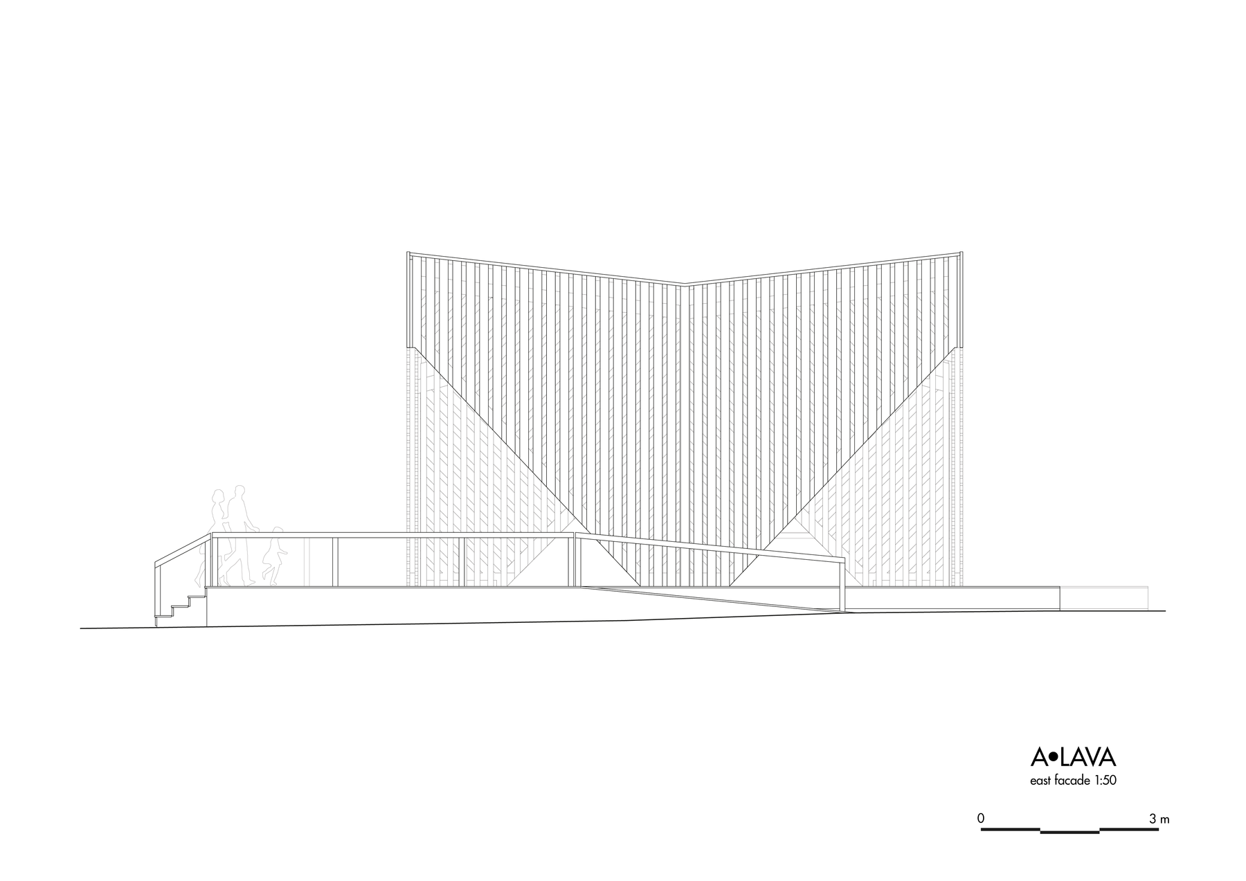 Drawing of A•LAVA summer theatre, view from the northeast, Wood Program