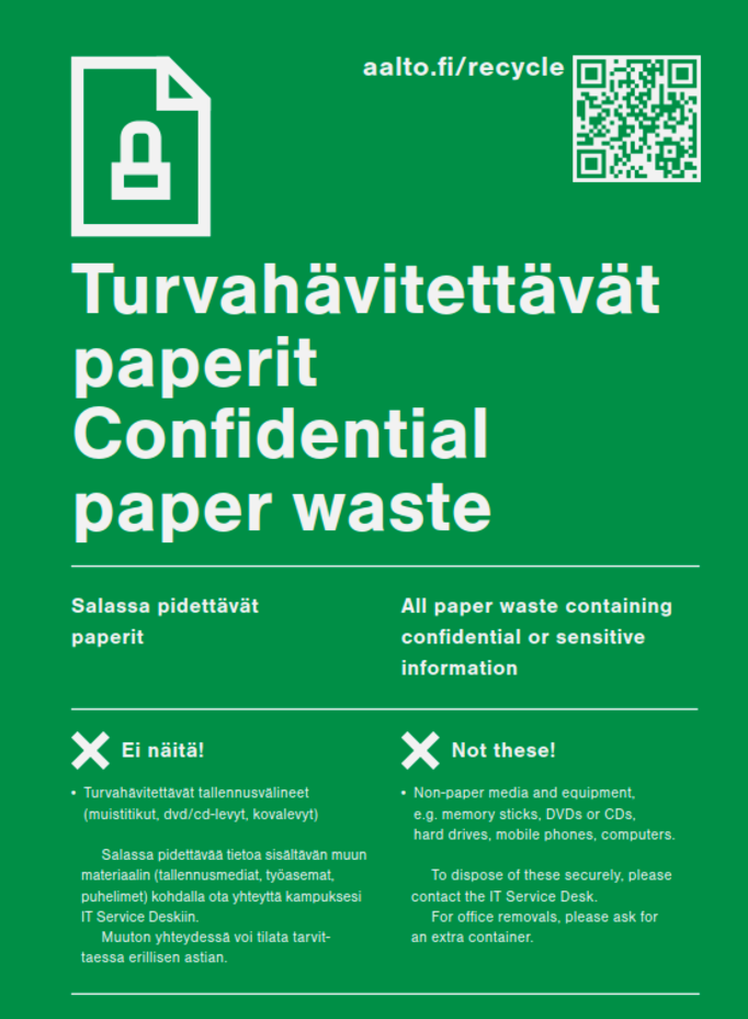 Recycling and sorting | Aalto University