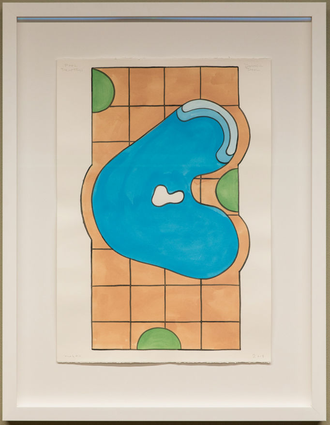"""The paintings in this series look at the evolution of the kidney-shaped pool in the 20th century, from its original form designed by Alvar Aalto through to American versions of the smooth-surfaced form. They also include a final imaginary gall bladder pool, creating a new future form for this historical series."" - Navine G. Khan-Dossos"