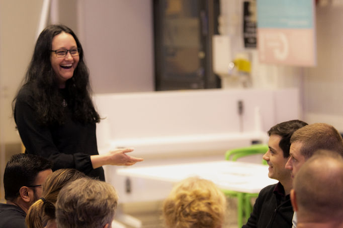 Event photo: Heidi Henrickson from Materials Platform laughing.