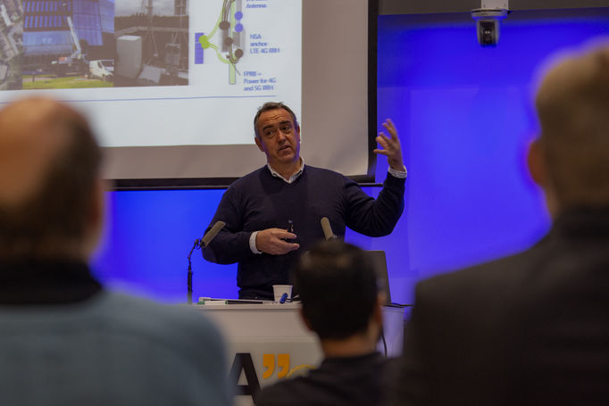 Event photo: Jose Costa-Requena presenting the 5G Force program.