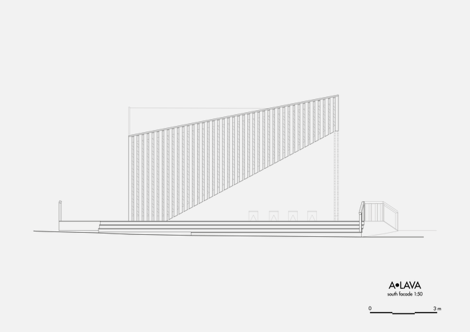 Drawing of A•LAVA summer theatre, view from the southeast, Wood Program