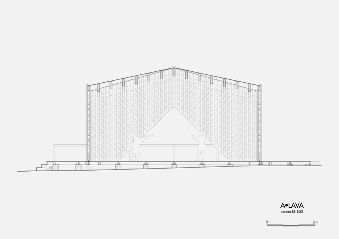 Drawing of A•LAVA summer theatre, cross-section BB, Wood Program