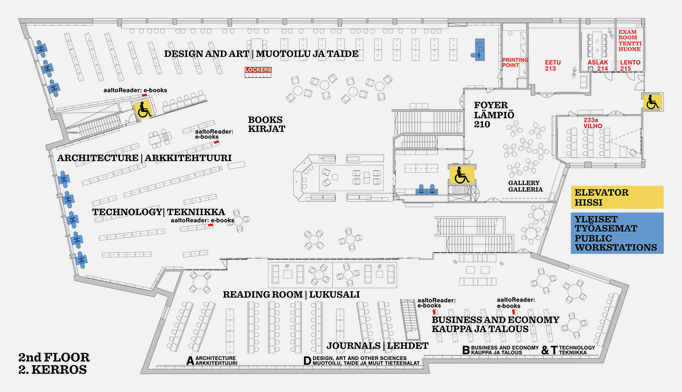 Map of the 2nd floor of Harald Herlin Learning Centre.