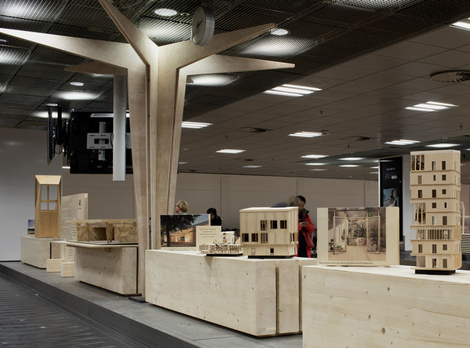 Wood Wonders exhibition at Helsinki airport. Photo: Anne Kinnunen