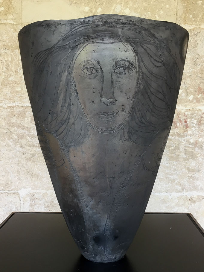 Catharina Negra I (2016) on display in Vilafranca. Black fired local earthenware and terra sigillatas. Maarit Mäkelä