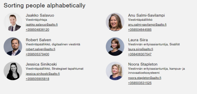 Screenshot for Drupal, people contacts organised automatically in ABC order