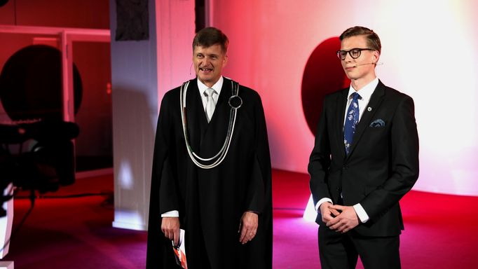 President Ilkka Niemelä and AYY chair Olli Kesseli at the Aalto Day One opening ceremony on 1 September 2020