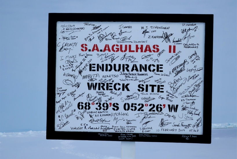 Weddell Sea Expedition 2019 sign at the Endurance wreck site