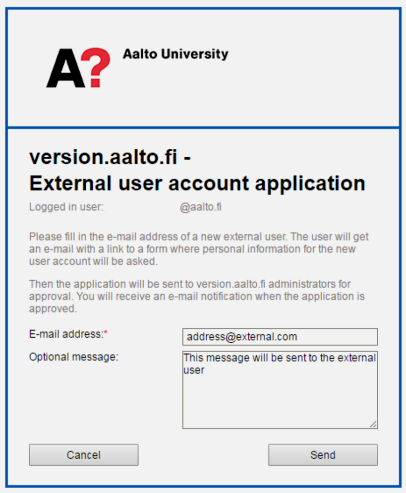 external user account application
