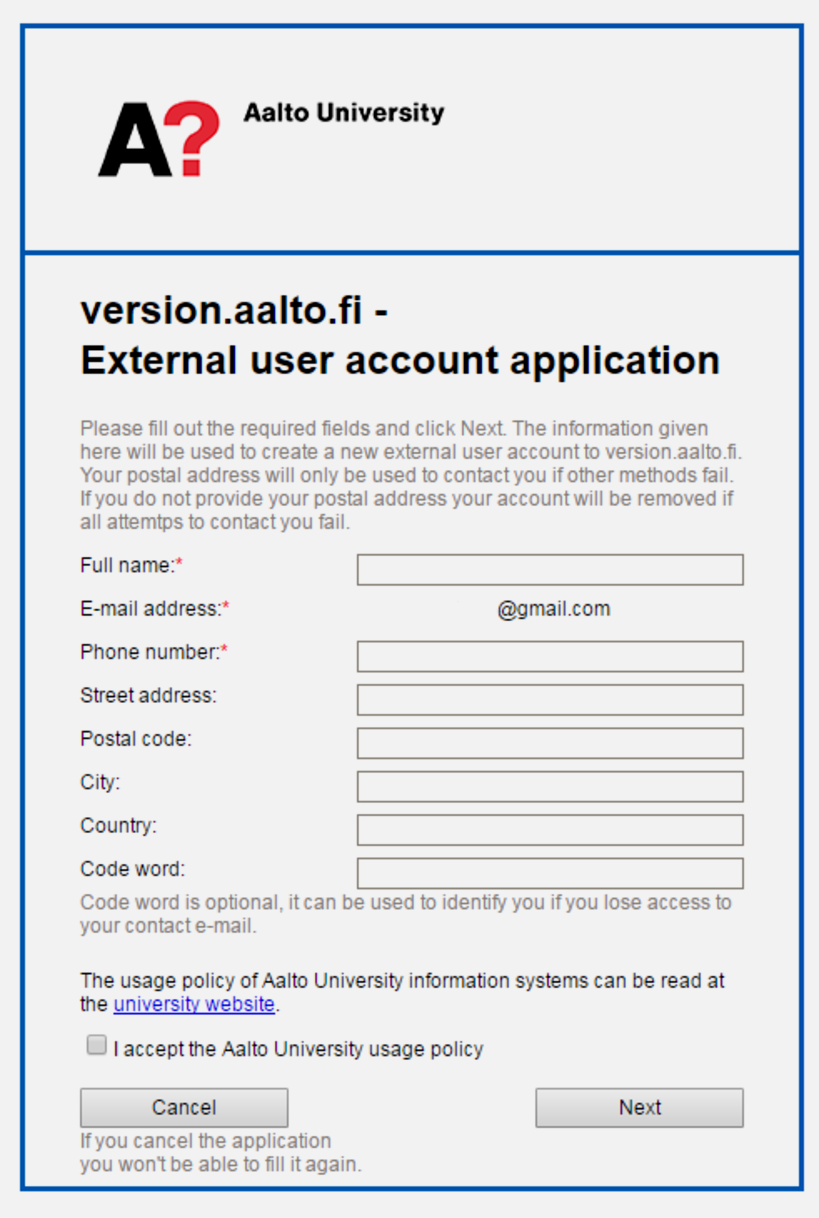 user account application