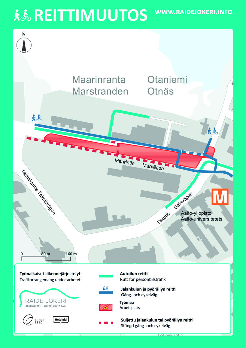 Part Of Maarintie Will Be Closed To Vehicle Traffic In October