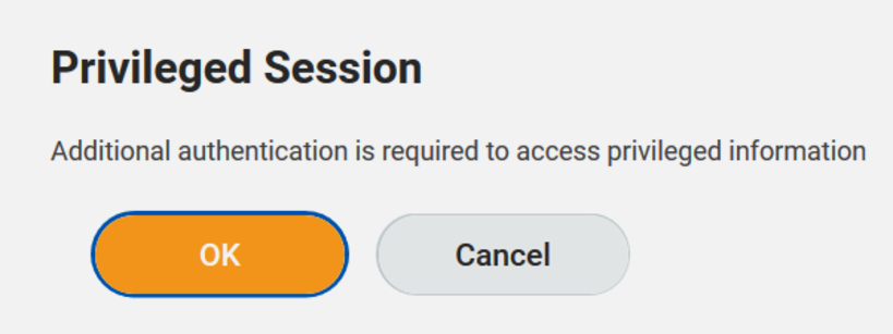 Privileged session - additional authentication is required - press ok