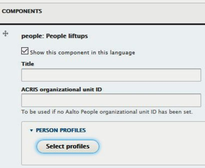 Screenshot showing the select profiles -button at aalto.fi