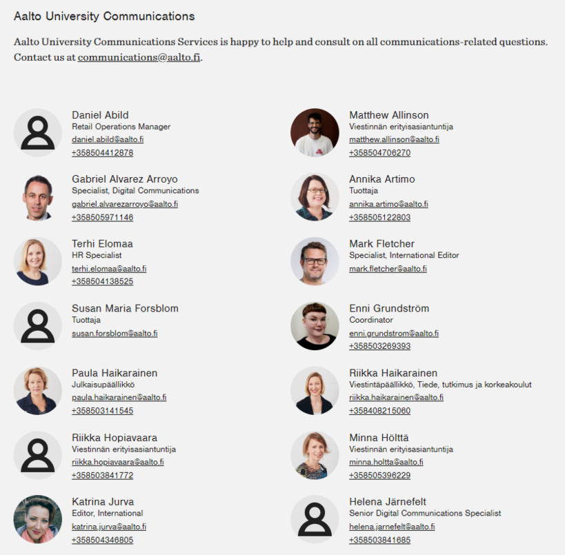 List of department personnel in aalto.fi