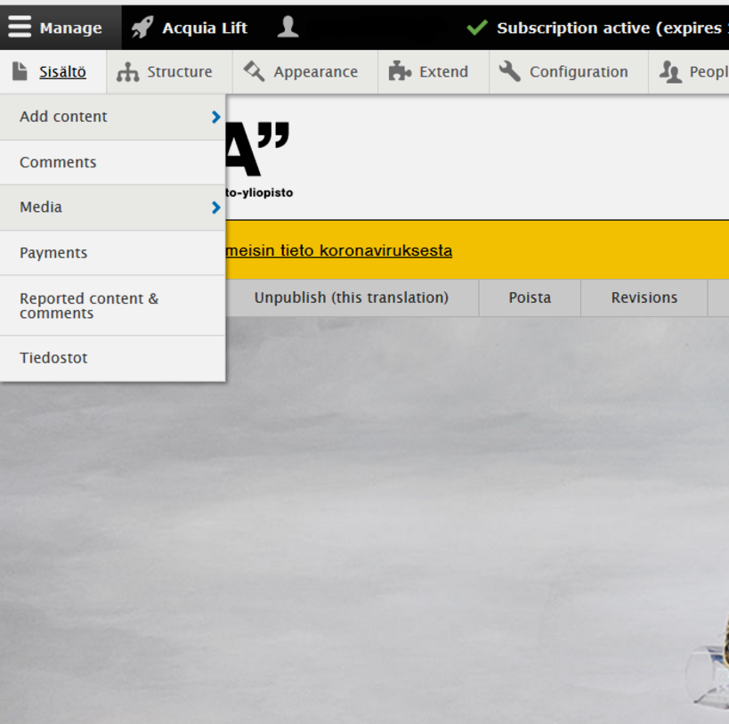 Screen shot of aalto.fi-website demonstrating the button to click to add content