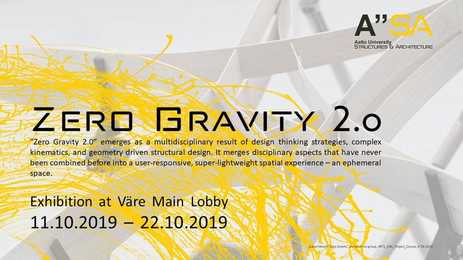 Zero Gravity 2.0 exhibition in Väre 11.10-22.10.2019