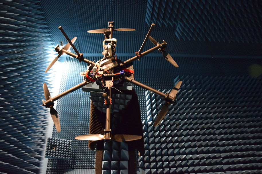 measuring drone RCS in anechoic chamber photo: vasilii semkin/Aalto University / VTT