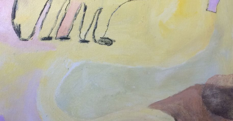 detail of an acrylic painting. Pastel colors of yellow, pink, violet and a little brown. On the upper left corner there is possibly an animal feet drawn with charcoal.