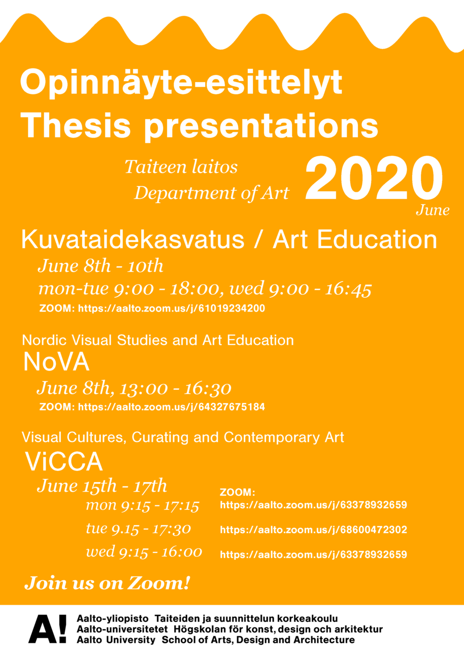 Department of Art Thesis Presentations poster. Orange poster, white text.