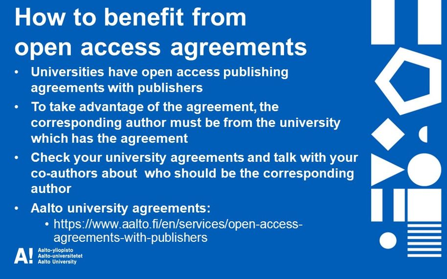 How to benefit from open access agreements