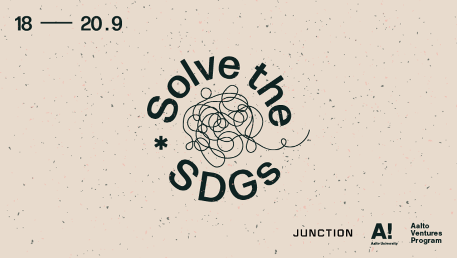 Solve the SDGs banner with Junction, Aalto University and Aalto Ventures Program logos