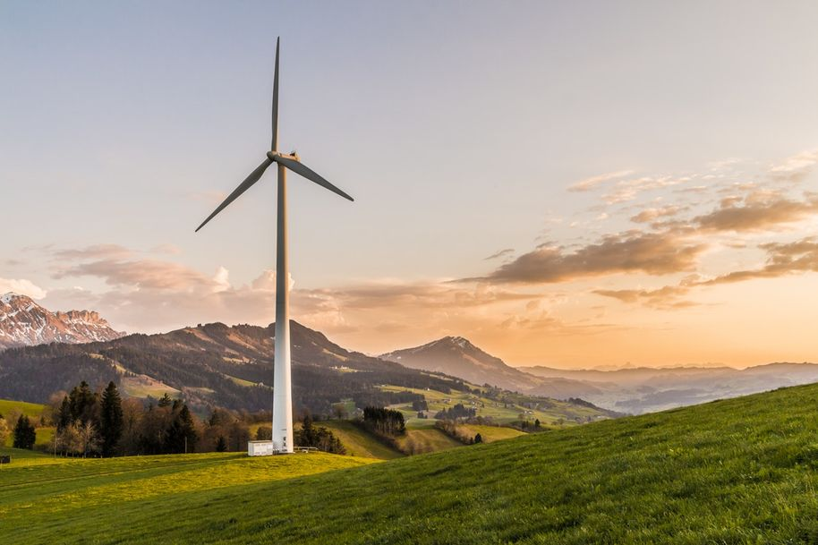 Image of a turbine in the mountains