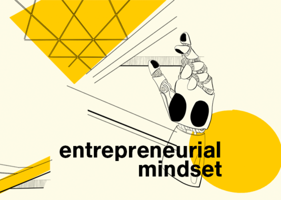 Entrepreneurial mindset themed illustration showing a robotic hand, illustration by Anna Muchenicova