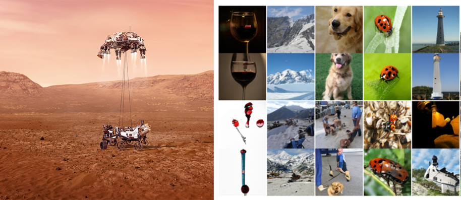 On the right, NASAs perseverence rover, on the right, a selection of GAN generated images showing some convinving and some bad pictures of dogs, mountains, lighthouses and wine