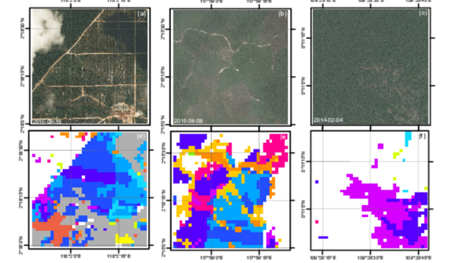 Example deforestation maps (bottom) are produced using the satellite data and proposed algorithm. The maps show the time of deforestation events aggregated by years. The high resolution images (top) for validation purpose were obtained through Digital Globe viewing service.