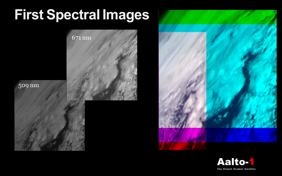 First spectral image taken by AaSI SPE camera. The image demonstrates that spectral camera is fully functional.