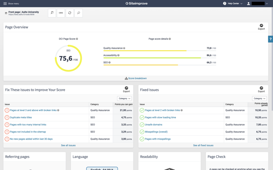 Siteimprove page overview