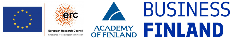 Logos of the funding bodies of the SMW group (EU & the European Research Council, Academy of Finland and Business Finland)