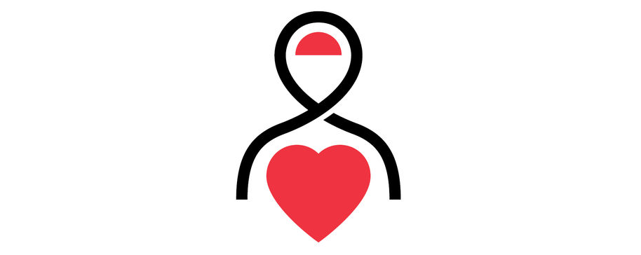 Pictogram of a person with a heart symbol