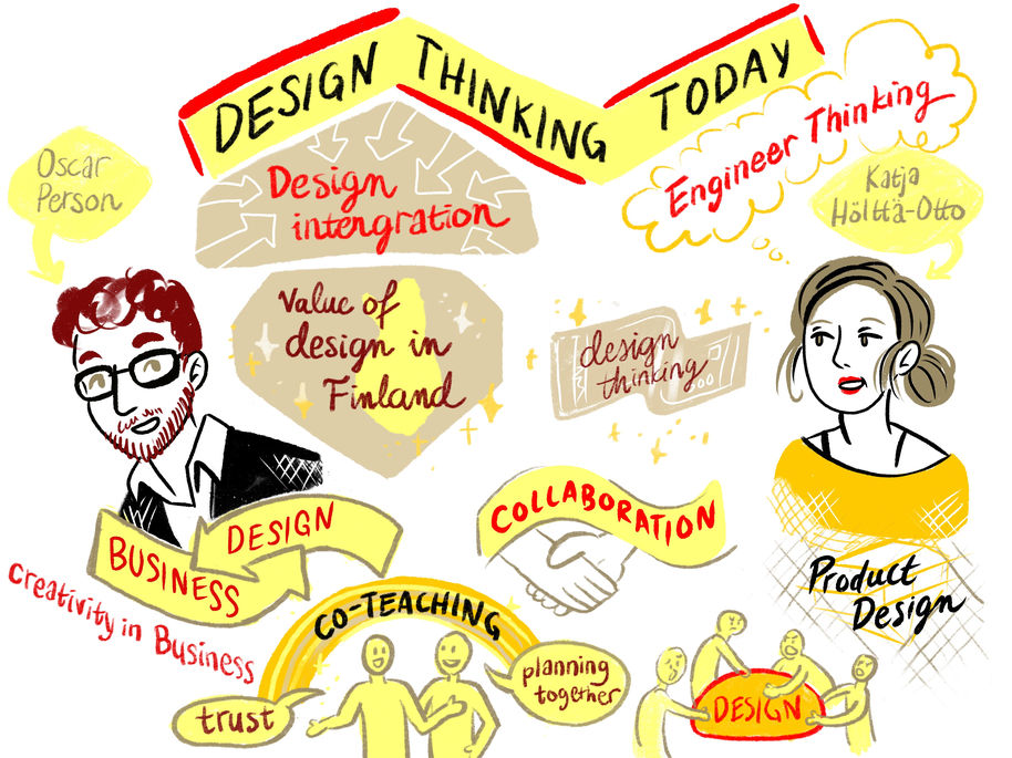 Live illustration about design thinking talks by Apila Pepita Miettinen