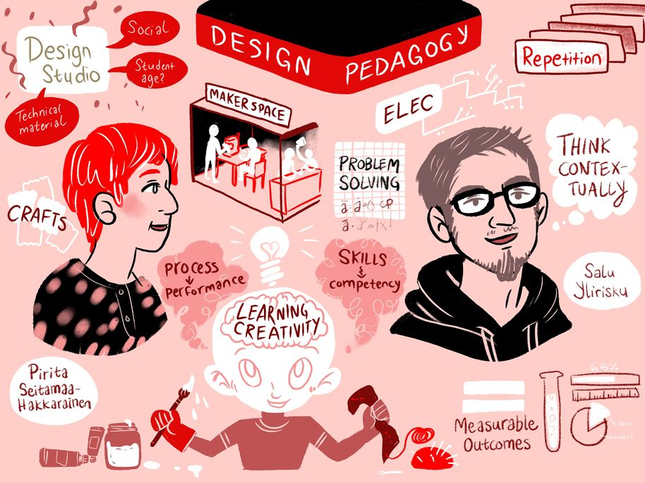 U-Create teaching symposium's live illustration about design pedagogy by Apila Pepita Miettinen