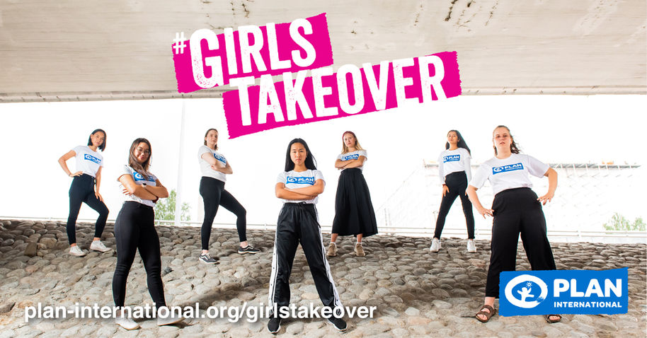 All seven girls, participants of this year's Girls Takeover campaign by Plan International Finland, in a joint photo