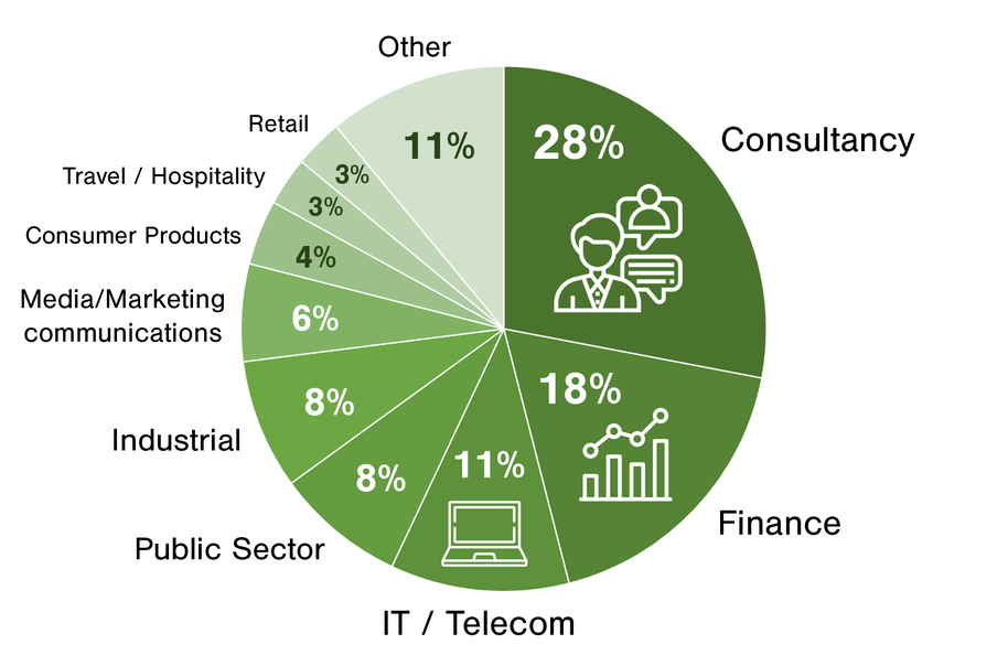 A diagram of industries School of Business graduates work in. Consultancy 28%, finance 18%, IT 11%, Public sector 8%, industrial 8%, media & marketing 6%, consumer products 4%, travel 3%, retail 3% and other 11%