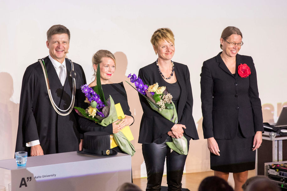The Artistic Impact award was collected by Elina Hirvonen and Susanna Helke (in the middle).