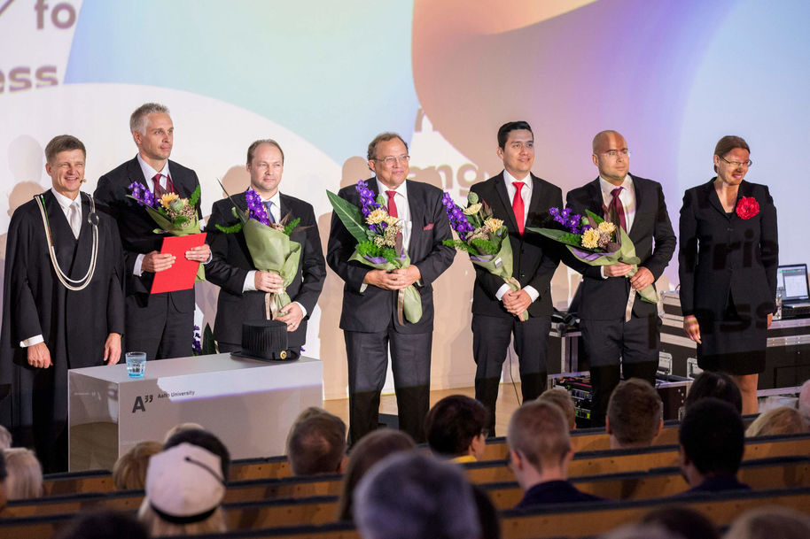 The Education Impact award was collected by (second from the left) Jani Romanoff, Heikki Remes, Pentti Kujala, Osiris A. Valdez Banda ja Martin Bergström.